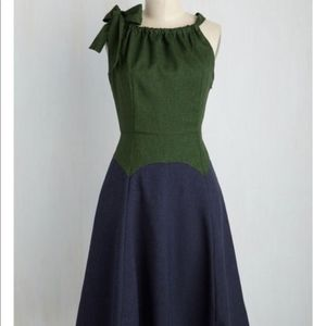Harlyn Modcloth colorblock dress green blue